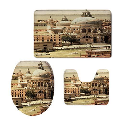 (Fashion 3D Baseball Printed,Venice,Antique Italian Architecture Basilica in Venice Historical European Waterfront Decorative,Pale Green Beige,U-Shaped Toilet Mat+Area Rug+Toilet Lid Covers 3PCS/Set)