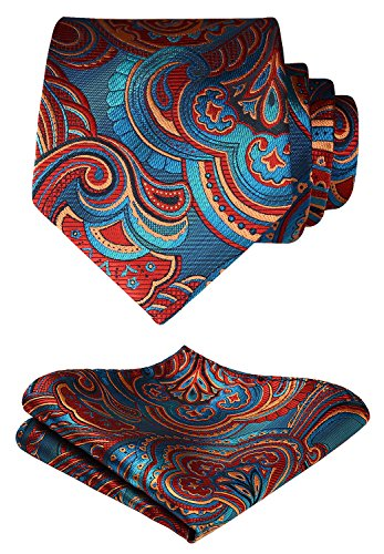 HISDERN Paisley Tie Handkerchief Woven Classic Men's Necktie & Pocket Square Set,Blue & Burgundy,One Size