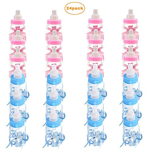 Candy Bottle Baby Shower, 24 pcs Mini Fillable Feeder Style Gift Box with Bear for Party Favors Supplies Boy Girl Newborn Infant Baptism Christening Birthday Decoration 9 x 4cm(12pcs Blue+12pcs Pink)