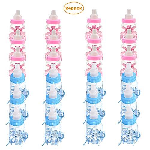 24 Mini Baby Bottles Blue Shower Party Cake Topper Party Favours Decoration Boys