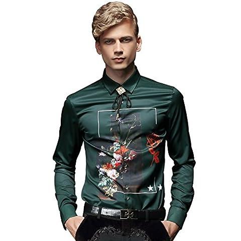 FANZHUAN Green Mens Dress Shirt Flower Printed Slim Causal Long Sleeve