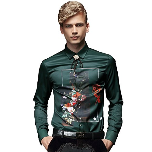 FANZHUAN Green Mens Dress Shirt Flower Printed Slim Causal Long Sleeve