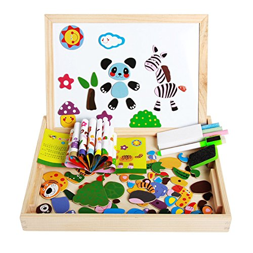 Darius Wooden Magnetic Animal Puzzle Board, Intelligent Toy