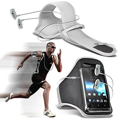 ( White ) Dell Aero Sports Running Jogging Ridding Bike Cycling Gym Arm Band Case Pouch Cover & In Ear Earbud Stereo Hands Free Earphone By ONX3® (Aero Sport Armband Case)