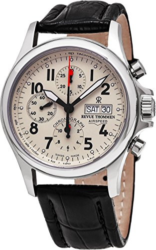 Revue Thommen Airspeed Heritage - Beige Dial Chronograph Day Date Revue Thommen Watch Mens - Black Leather Band Swiss Revue Thommen Automatic Watch 17081.6538