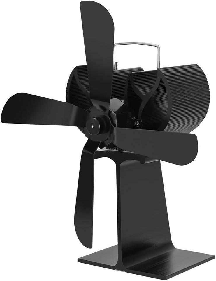 Hothap - Calefacción para horno de leña (extremadamente silenciosa, 4 aspas, con fuego de chimenea y ventilador ecológico con funcionamiento térmico)