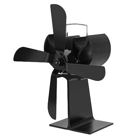 MIUSON - Quemador de Madera Eco Ventilador Estufa Chimenea Fuego termoeléctrico Ecofan Ultra silencioso 4 Cuchillas