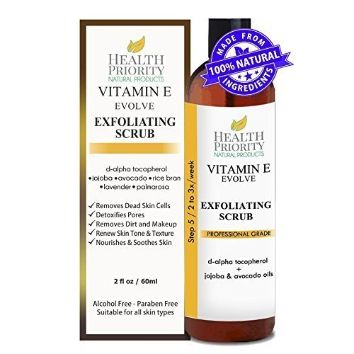 100% Natural Vitamin E Facial Exfoliating Scrub. Rich & creamy exfoliator with jojoba pearls + alpha hydroxy acid helps wash, cleanse & exfoliate face. Best exfoliant to fix uneven skin tone and acne. ()