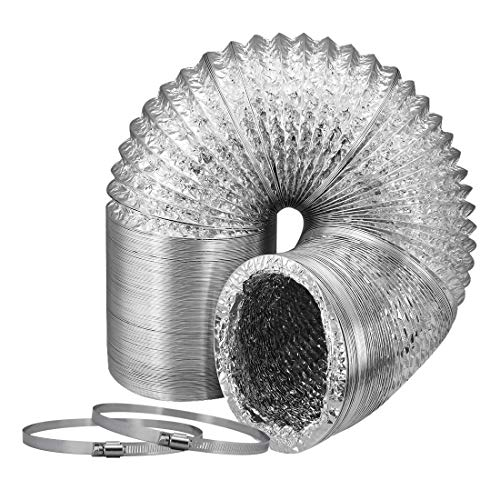 Ventilation Ducting - VIVOSUN 6 Inch 8 Feet Non-insulated Flex Air Aluminum Ducting for Ventilation w/ 2pcs 6 Inch Stainless Steel Clamps