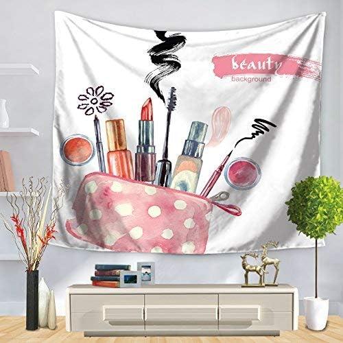 壁掛けタペストリー 北欧の家と外国貿易のタペストリー、漫画のファッション化粧塔、赤い口紅印刷壁掛け装飾キャンバス、ソファタオル、gt1209a150 * 130センチ 寝室用タペストリー