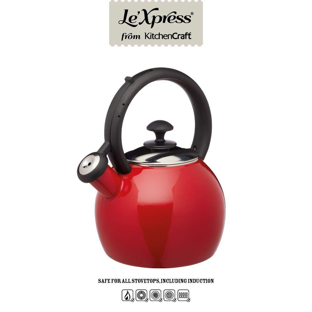 KitchenCraft KCLXKETENRED color rojo y negro Hervidor para silbato