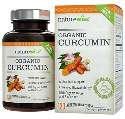 Naturewise Curcumin Turmeric 1650Mg With 95  Curcuminoids   Bioperine Black Pepper Extract  Advanced Absorption  Cardiovascular   Healthy Joints Support  Non Gmo  Gluten Free  180 Vegetarian Capsules