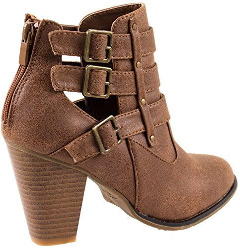 Forever Shoes Womens Camila-62 Short Ankle Riding Boots With Chunky Heel and Three Buckled Strap Tan xlPyr