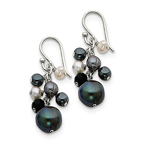 Sterling Silver Dangle Shepherd hook Simulated Onyx Hematite Peacock White Freshwater Cultured Pearl Earrings