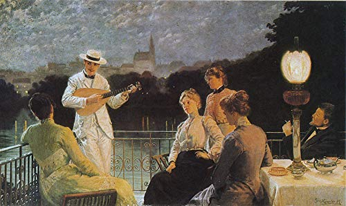 Jakub Schikaneder Company on The Terrace 1887 Painting Oil on Canvas 30