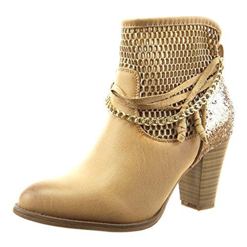 Sopily - Chaussure Mode Bottine Cheville femmes résille chaïnes corde Talon haut bloc 8 CM - Camel