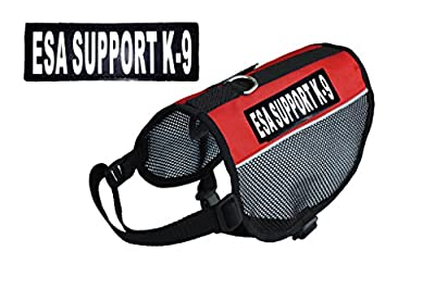 "ESA Support K-9 Service Dog Emotional Support mesh vest Harness Cool Comfort Nylon for dogs Small Medium Large Purchase comes with 2 reflective ""ESA Support K-9"" pathces. PLEASE MEASURE your dog before ordering"