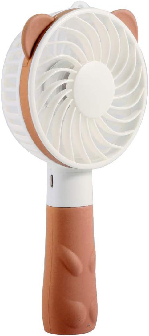 Outdoor Portable Handheld USB Rechargeable Mini Cute Cartoon Cooling Fan Desk Fan Summer Cooler Color : Brown