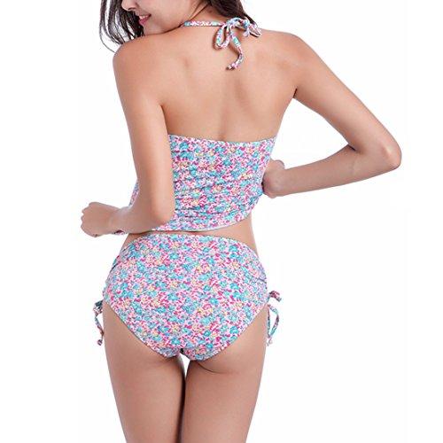 Beach Alta Per Imposta Tankini Rosa Vestito Sexy Bikini Vita Due Costume Collo Size Di Plus Pezzi Bagno Stampa D'attaccatura Raccogliere Donne Le Group Sidiou Da Nuoto TFXqwAA