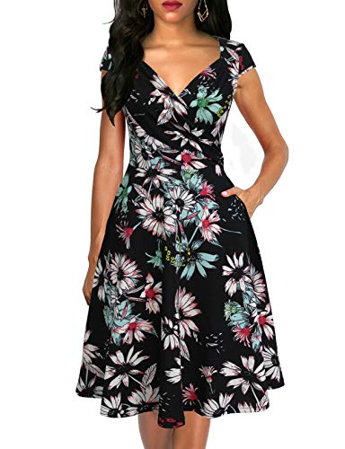 - Lyrur Women's Formal Cross V Neck Black Floral Flared Dress Short Sleeves Summer Party Cocktail Dresses(M,9074-Blk Floral)