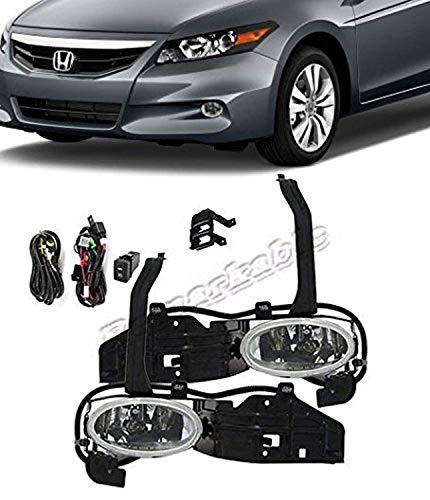 Remarkable Power FL7044 Fit For 2008-10 Honda Accord Cupe 2DR Clear Fog Lights Lens Bumper Lamps Kit 2dr Clear Fog Lights