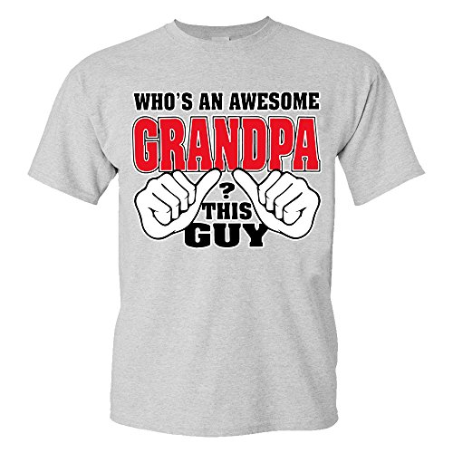 Fresh Tees- Who's An Awesome Grandpa Father's Day Shirt gifts for grandpa (X- Large, Grey)