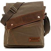 Amazon Lightning Deal 92% claimed: Magictodoor Small Vintage Canvas Messenger Bag Ipad Shoulder Bag Travel Portfolio Bag