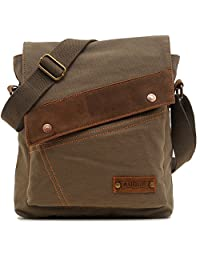 Magictodoor Small Vintage Canvas Messenger Bag Ipad Shoulder Bag Travel Portfolio Bag AG9088Lv.ca