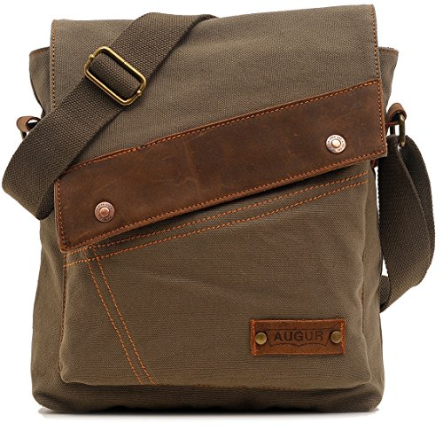 Price comparison product image AG9088Lv Magictodoor Small Vintage Canvas Messenger Bag Ipad Shoulder Bag Travel Portfolio Bag