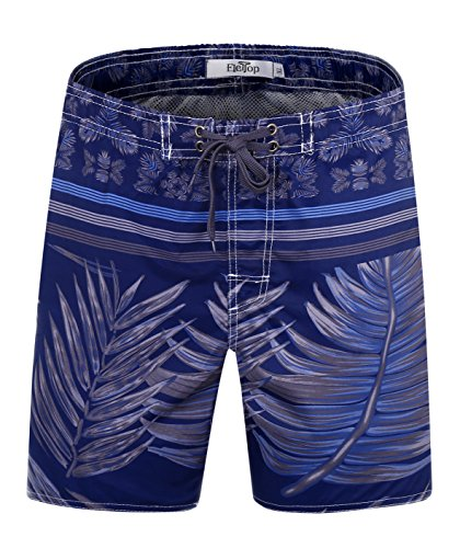 ELETOP Men's Swim Trunks Quick Dry Board Shorts with Mesh Lining and Pockets Hawaii Tropical Coconut Tree Print D5527 Navy (Waist:34)