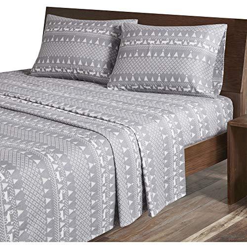 Woolrich Flannel Cotton Printed Sheet Set, Queen, Grey Winte