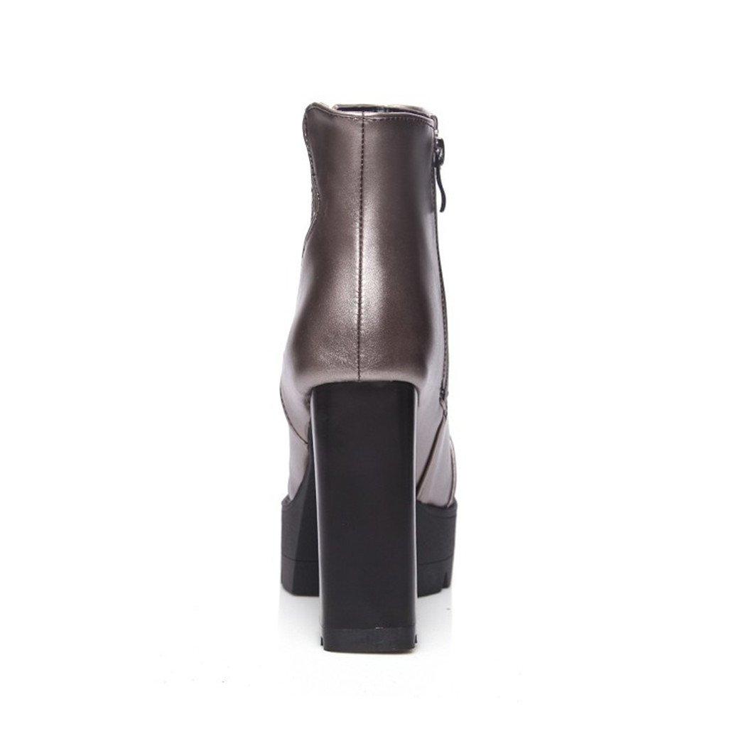 ZQ@QX Herbst und Winter bold runden Kopf bold Winter und stilvolle Seite Reißverschluss große, blanken Stiefel, Stiefel Gun color cd85a3