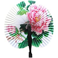 Softmusic 3Pcs Chinese Foldable Heart Shape Folding Paper Hand Holding Fans (Random Color)