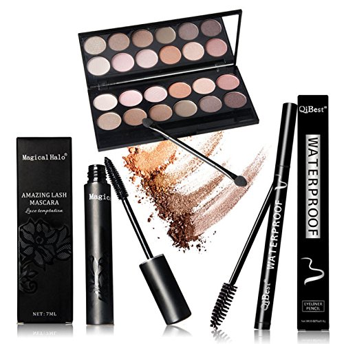 Eyes Makeup Set Mascara + Eyeliner + Eyeshadow +12PCS Eyelash Makeup Brush