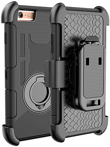 E LV iPhone 6S Case/iPhone 6S / 6 Holster Defender Case Armor Holster Defender Case Cover with Kickstand and Belt Swivel Clip for iPhone 6S / iPhone 6 (Black Circle)