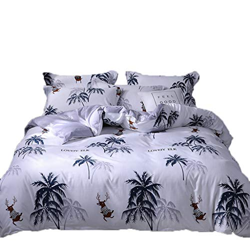Togethor Four Piece Bedding Tribute Cotton Pillowcase Creative Pattern Full Size Jungle Life Bedding Set of 4 (one Quilt Cover, one Bed Sheet, Two -