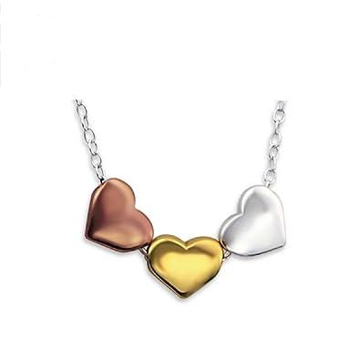 Damen Collier Herz Anhänger Zirkonia rhodiniert vergoldet 925er Silber mit Kette