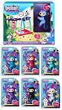 Bundle - 7 Items: 6 Fingerlings Interactive Pet Baby Monkey and 1 Monkey Bar Playset with 7th Fingerling