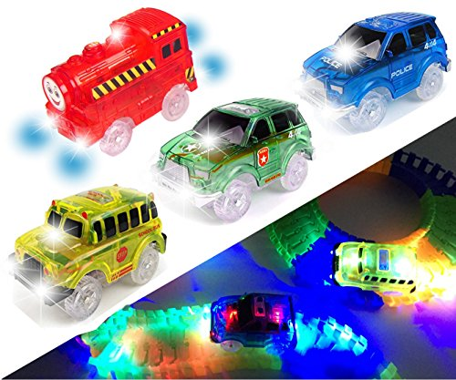 [4 PACK] Light Up Track Replacement Race Cars Toy/Tracks Trains | Glow in the Dark | w/ 5 LED Lights | For Independent & Track Play | Track Accessories Compatible with Most Tracks for Boys and Girls
