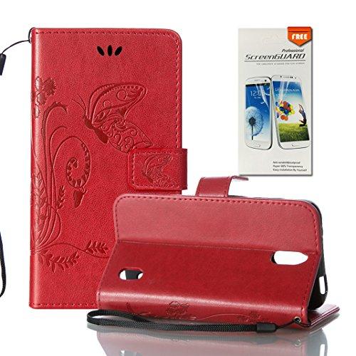 Funda Huawei Y625 OuDu Carcasa de Billetera Casco Patrón de Gofrado Caja Elegante Flor&Mariposa Funda PU Cuero Carcasa Suave Protectora con Correas de Teléfono Funda Arbol Flip Wallet Case Cover Bumpe Rojo