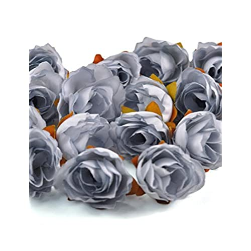 Zacoo Silk Small Tea Bud Flower Heads 50pcs Gray 30mm