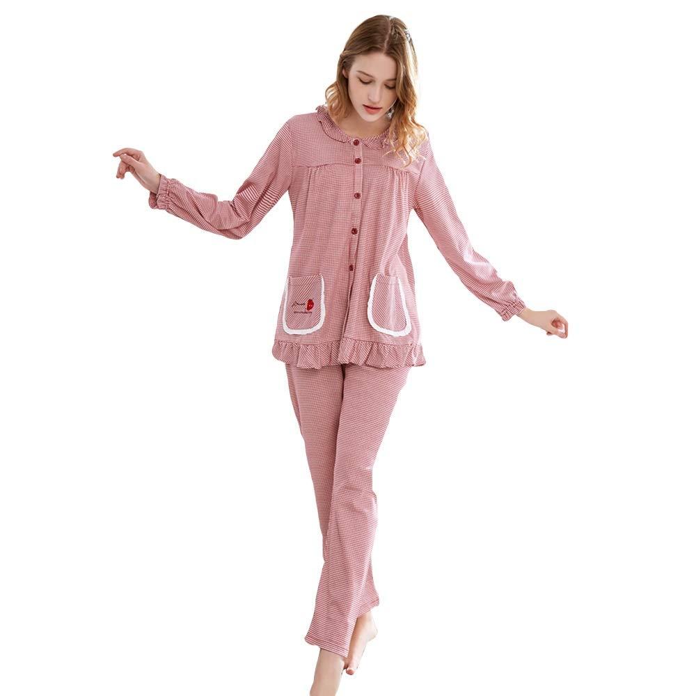Pajama Sets Pajama Set Ladies Four Seasons LongSleeved Plaid Round Neck Cotton Large Size Home Clothes (Size   XL)