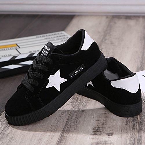 Rose Noir Vinstoken 43 Basses de Course Tennis Baskets Plat 35 Chaussures Lacer Plateform Femme Gris Rouge Star Toile en Sneakers Casuel RWnrW