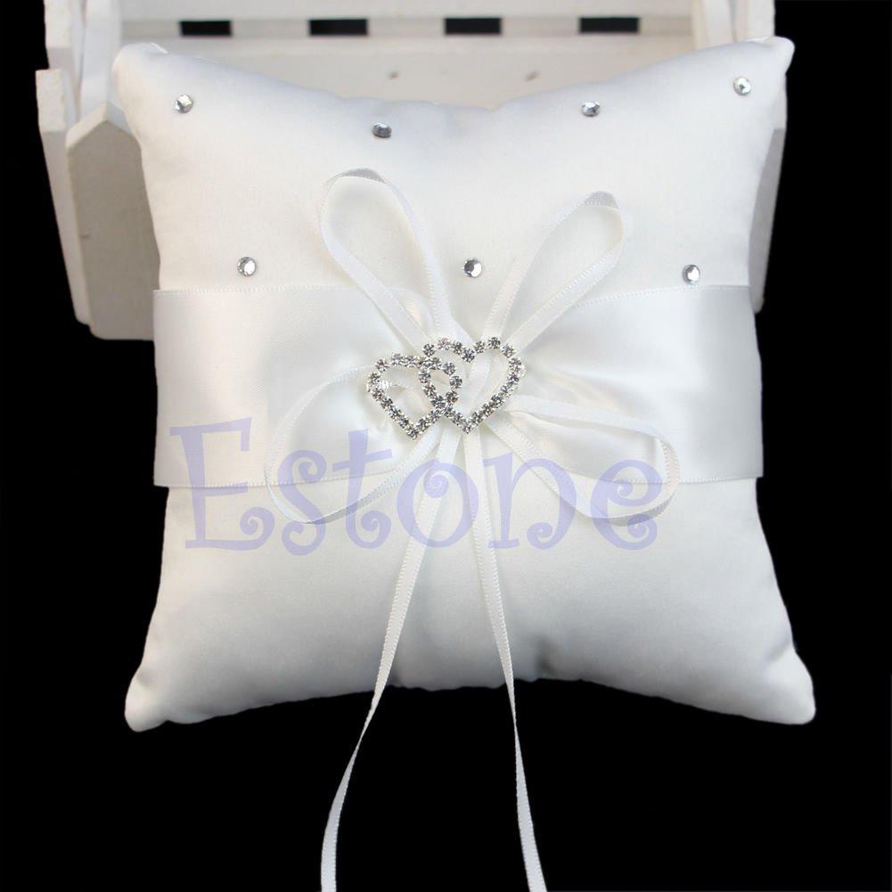 15cmx15cm Double Heart Beauty Ring Bearer Pillow Cushions Wedding Party Crystal Rhinestone by princessdress08