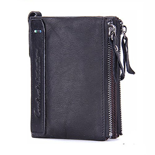 Men Coin Purse Bifold Wallet Genuine Leather Zipper Change Purse Coin Pouch (Change Purse Hardware)