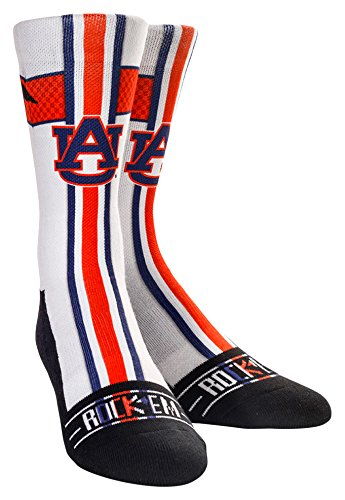 NCAA Auburn Tigers Custom Athletic Crew Socks, Jersey Series-White, Youth