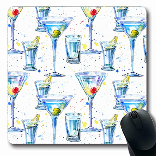 Ahawoso Mousepads for Computers Glass Watercolor Alcohol Martini Olive Cherry Vodka Abstract Sake Food Drink Bar Beer Berry Beverage Oblong Shape 7.9 x 9.5 Inches Non-Slip Oblong Gaming Mouse Pad ()