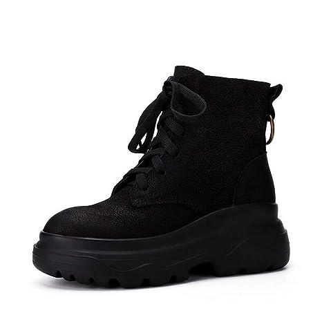 Hy Botines para Mujer, Zapatos de Cuero Retro Fall/Winte, Zapatillas de Deporte