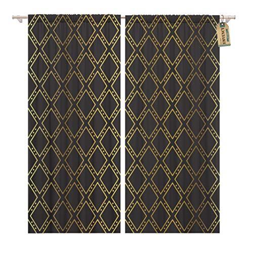 Golee Window Curtain Pattern Gold Diamonds Casino Black Heart Dark Abstract Club Home Decor Rod Pocket Drapes 2 Panels Curtain 104 x 63 -