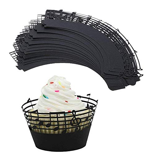 (Set of 50) Music Notes Cupcake Wrappers, Delaman Lace Hollow Muffin Case Cupcake Paper Liner, Music Party Supplies Birthday Cake Decorating Tools Baby Showers Party]()